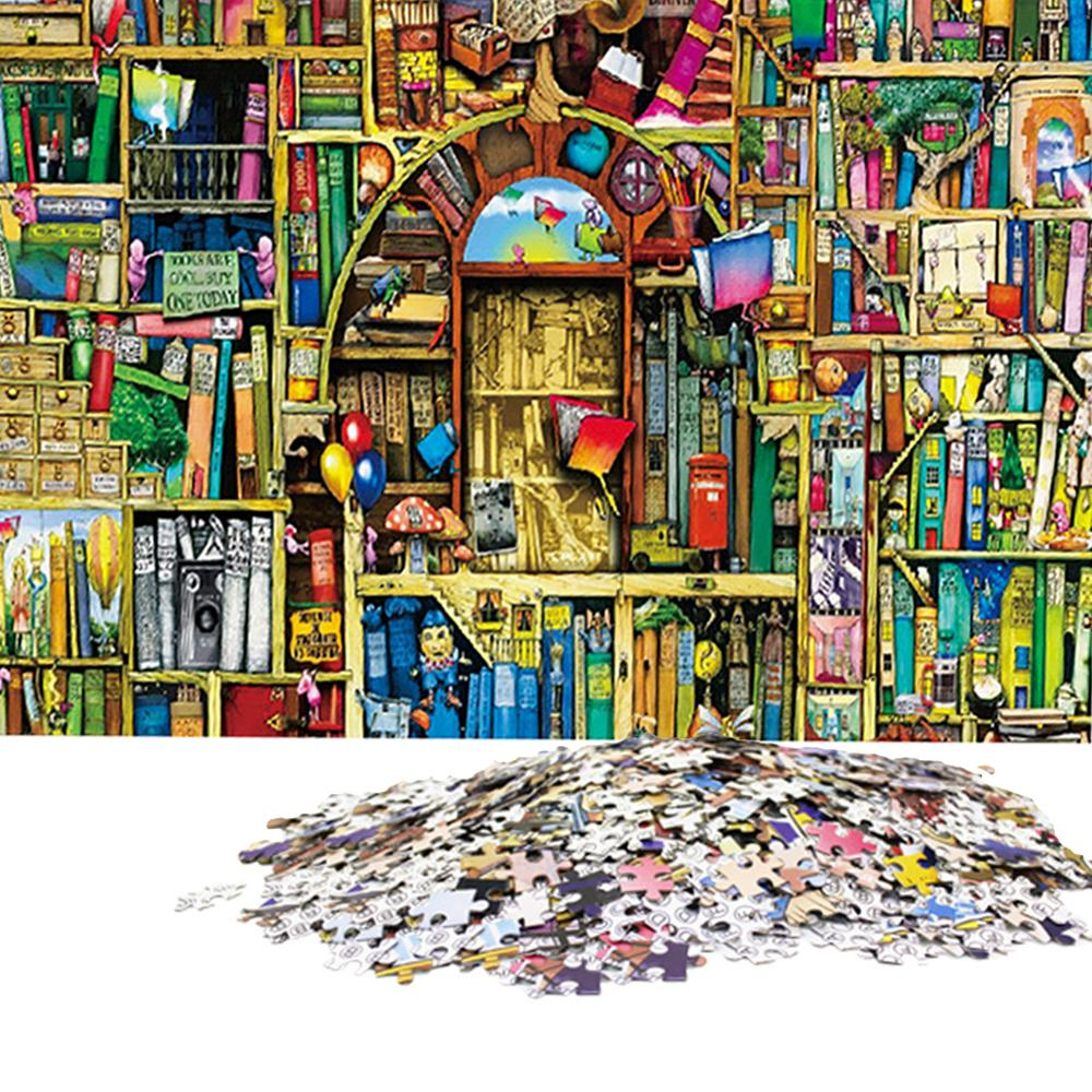 1000 Pieces Adult Puzzles Old Bookshelf Assembling Puzzles Toys For Adults Children Games Educational Toys Set