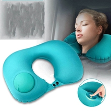 U-shape Automatic Inflatable Travel Pillow Neck Air Flight Pillows Car Airplane Cushion Folding Press Type