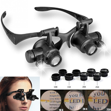 Magnifier Magnifying Eye Glass Loupe Jeweler Watch Repair Kit LED Light Double Glasses With Headband