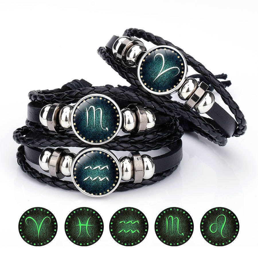 12 Zodiac Sign Glow in The Dark bracelet & Bangle For Women Men Glass Constellations Charm Leather Rope Chains Fashion Jewelry|Charm Bracelets|   - AliExpress