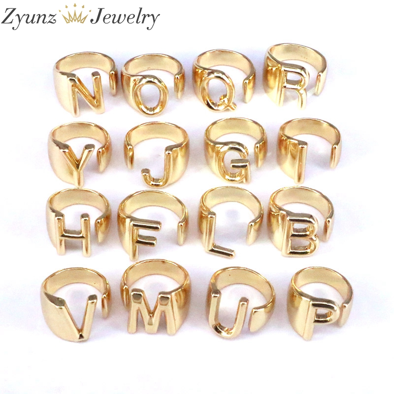 10-26PCS, Chunky Wide Hollow Letter Metal Adjustable Opening Ring Initials Name Alphabet Female Party Fashion Jewelry