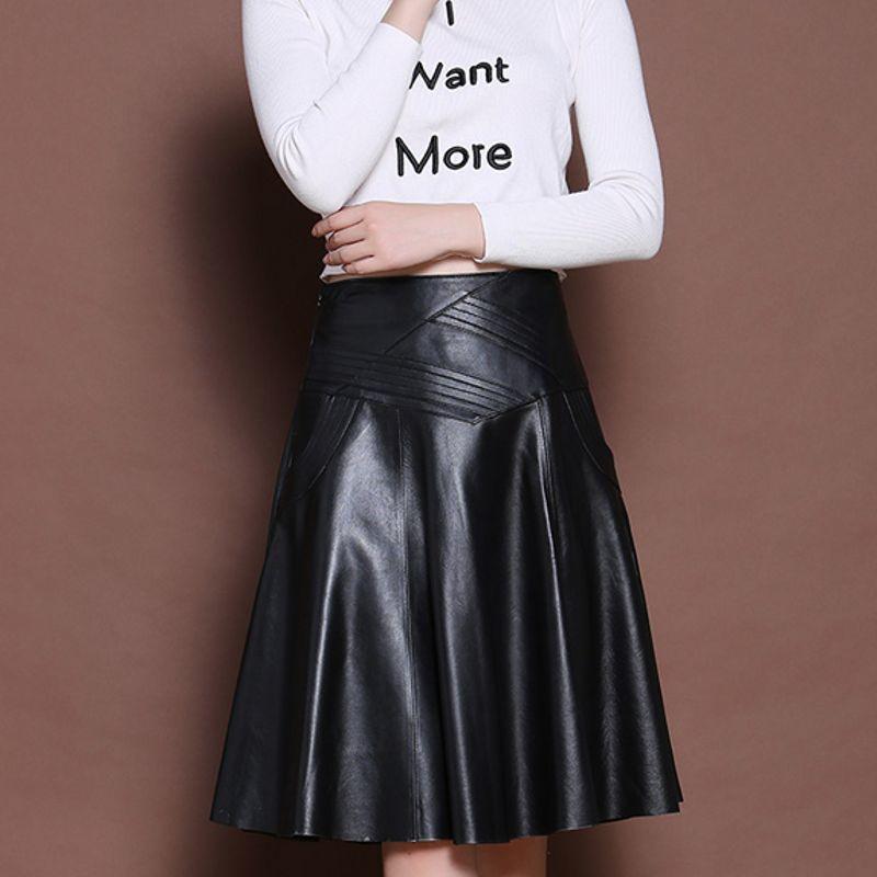 2020 New Fashion Brand Latest Korean Womens Genuine Leather Sheepskin A-Line Skirts Female High Waist Indie Folk Knee Length