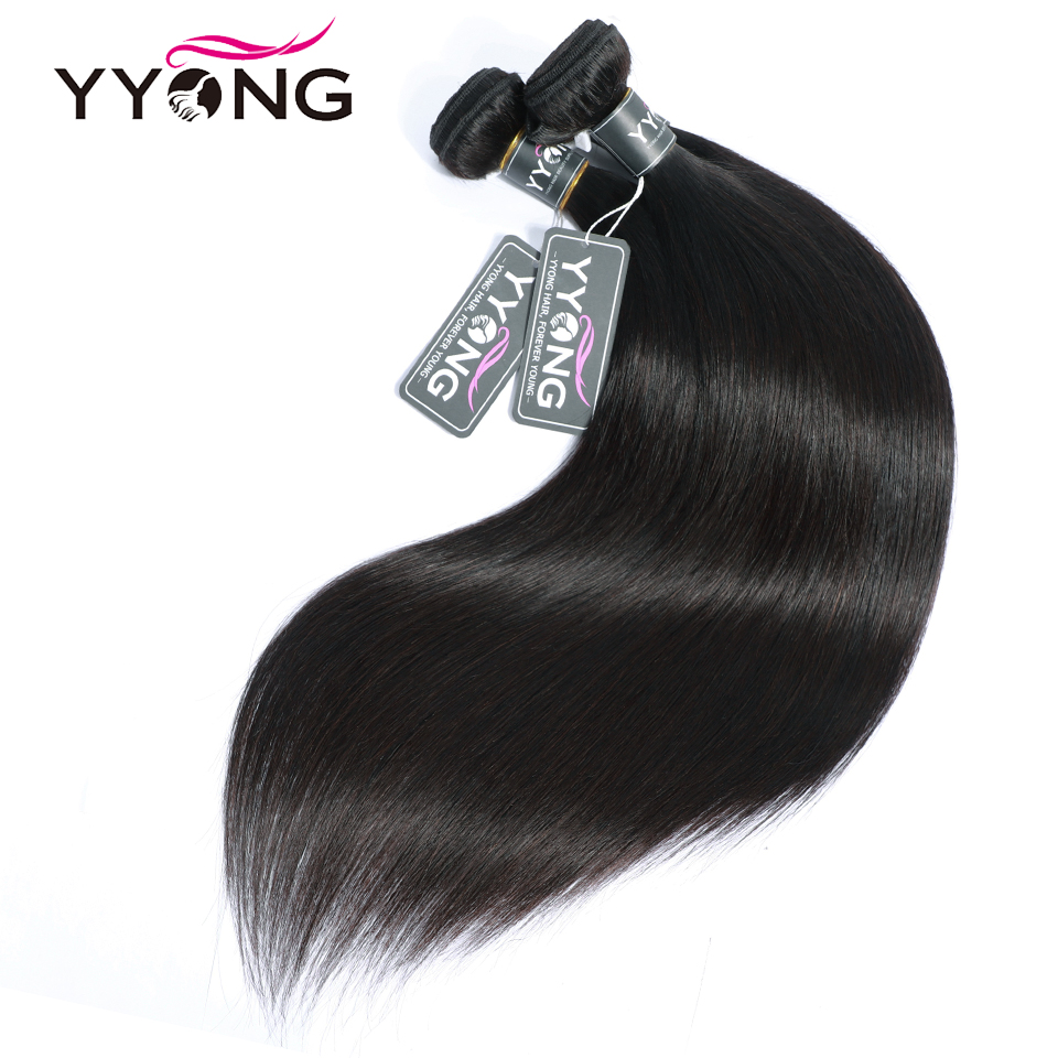 Yyong  Straight Hair 4/ 3 Bundles   With 4*4 Lace Closure Double Weft  Bundles With Closure 2