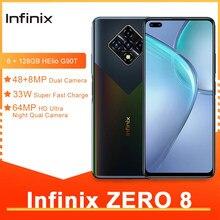 Infinix zero 8 smartphones 6.85 Polegada 8gb ram 128gb 64mp inteligente moblie telefone traseiro quad câmera helio g90t 33w super carga android