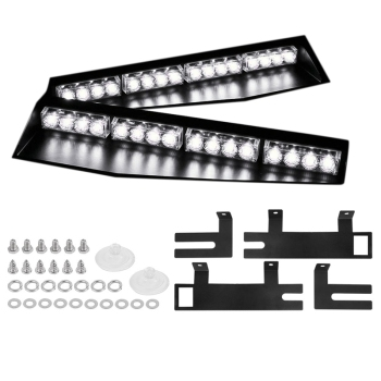 (White) 32LED Visor Lights 15 Flash Patterns Emergency Strobe Lights Windshield Split Mount Light Bar Law Enforcement Hazard War