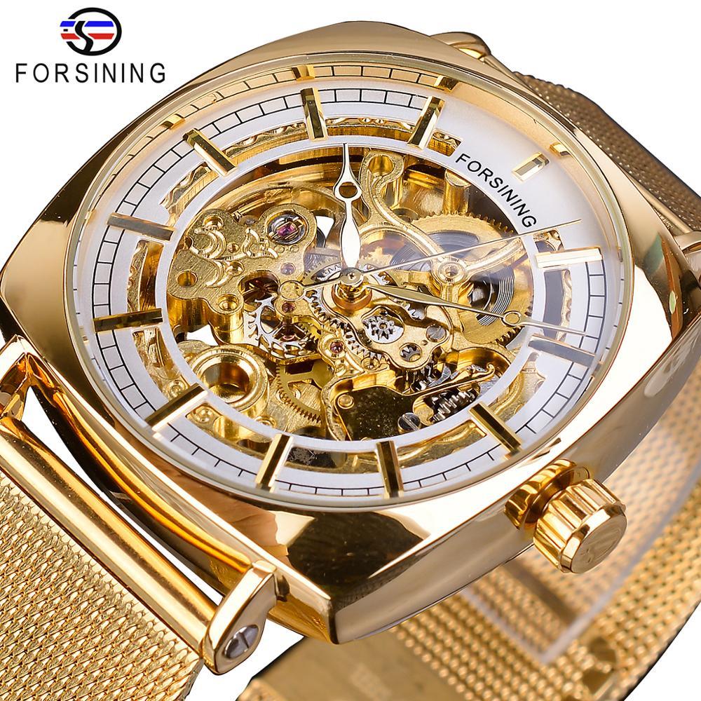 Forsining Golden Square Men Mechanical Watch Business Mesh Steel Belts Automatic Clock Relogio Masculino Hodinky Erkek Kol Saati Mechanical Watches Watches - title=