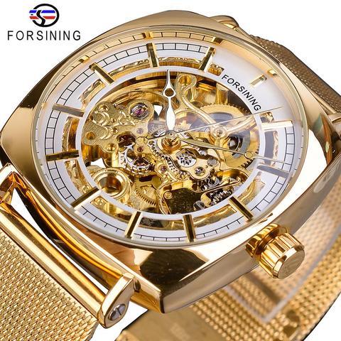 Correias de Aço dos Homens de Negócios Forsining Golden Square Malha Relógio Mecânico Automático Masculino Erkek Kol Saati Hodinky