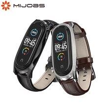 Para mi banda 6 cinta para mi banda 5 pulseira pulseira de couro genuíno smartband para xiaomi miband 3 4 5 6 correa opaska do pasek