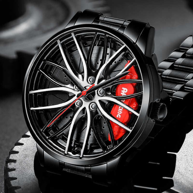 Nektom aro da roda hub relógios homem design personalizado esporte aro do carro hub relógio de aço inoxidável à prova dwaterproof água criativo relogio masculino