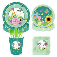 Flower Spring Birthday Party Decorations Meadow Butterfly Tableware Sets Baby Shower Kids Party Favors Supplies For 8 People