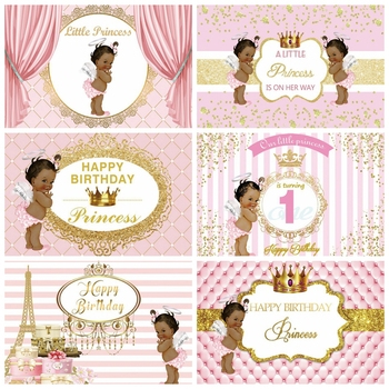 Newborn Baby Shower Birthday Party Princess Gold Crown Pink Custom Backdrop Photography Background For Photo Studio Photophone rainbow sky gold stars unicorn baby shower custom photo backdrops pink photography studio background 7x5ft