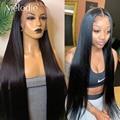 Парики из прямых человеческих волос на сетке, бразильские волосы без повреждений для черных женщин, с предварительно выщипанным передним п...