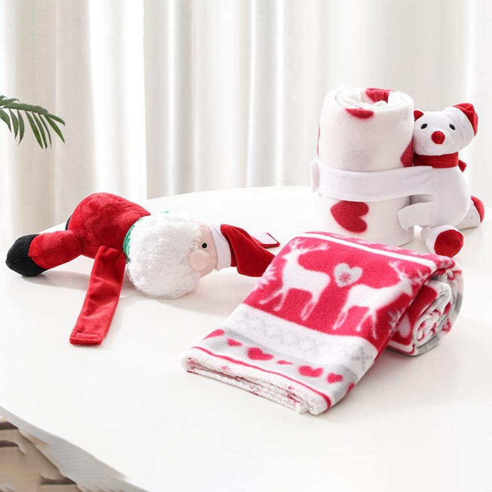 Comfort Toy Velvet Christmas Gift Blanket Baby Print Appease Toy Blanket Christmas Decoration