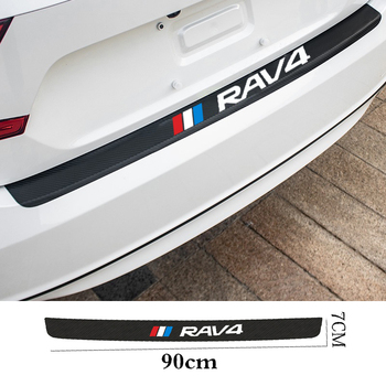 For Toyota RAV4 Hybrid Sport 2013 2006 2018 2011 Carbon Fiber Car Rear Bumper Trunk Guard Plate Film Protected Leather Stickers image