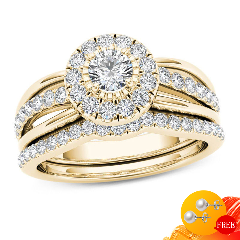 Trendy 925 Silver Jewelry Ring Round Shape Zircon Gemstone Finger Rings for Women Wedding Engagement Party Accessory Gold Color