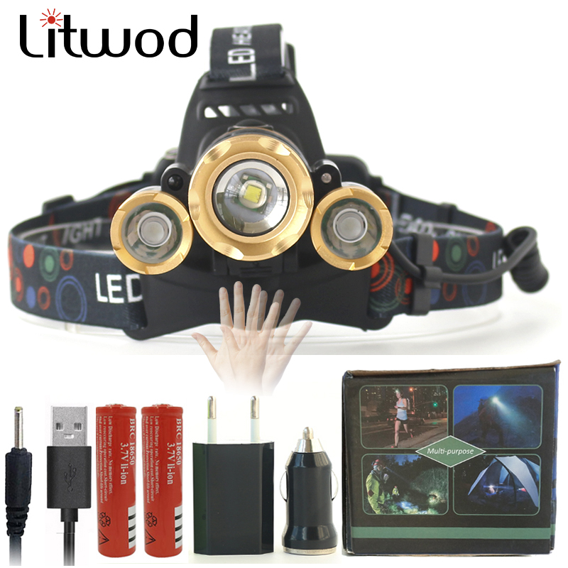 Z40 IR Sensor LED Headlight Headlamp Head Flashlight Torch Zoomable 13000Lm T6 Rechargeable Forehead Lamp Light Fishing