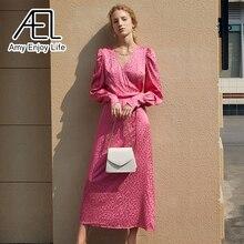 Ael Zomer Wrap Jurk Satijn V-hals Losse Taille Lace Up Dames Lange Streetwear Violet En Rose Rode Pyjama Look