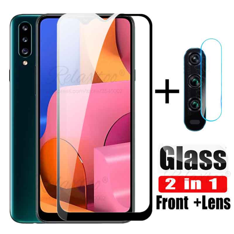 2 In 1 Camera Lens Glass On For Samsung Galaxy A20s Tempered Glass Screen Protector For Galaxy A20 A 20 S E 20s Protective Film
