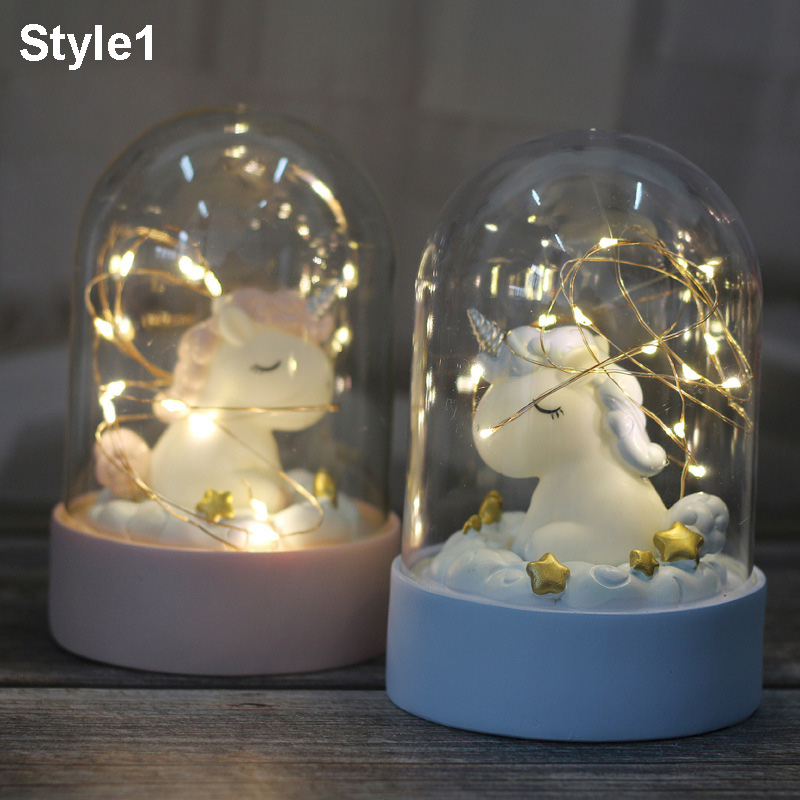 Ins Resin Unicorn LED Night Lighting Cartoon Unicorn Lamps  Fairy Lights Bedroom Landscape Decor Light Christmas Gift For Kids