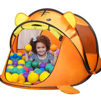 Portable Tiger Children #8217 s Tent Cartoon Animal Kids Play House Outdoors Large Pop Up Toy Tent Indoor Nets Baby Ball Pool Pit Toys tanie i dobre opinie Little J Tkaniny keep away from fire 0-12 miesięcy 13-24 miesięcy 2-4 lat 5-7 lat 3 lat 3 lat Namiot WJ3250#A26-0407