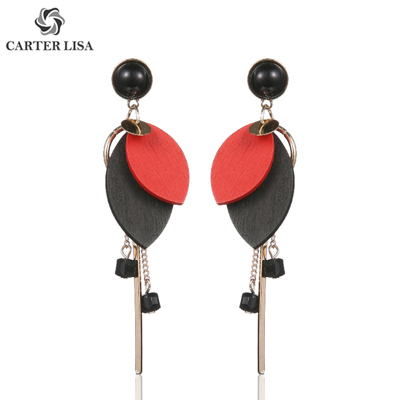 CARTER LISA Simple Solid Color Wood Leaf Shape Bar Drop Earings For Women Ethnic Bohemian Jewelry Party Personality Gifts