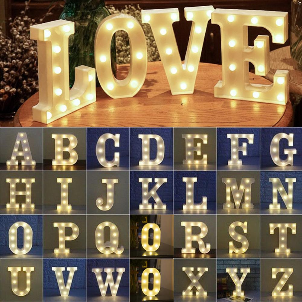 Alphabet LED Letter Lights Light Up Plastic English Letters Standing Hanging A-Z For Party Wedding Festival