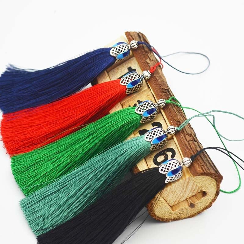 2PCS 9cm Hanging rope Silk Cloisonne tassels fringe sewing Polyester tassel trim key tassels for DIY Embellish accessories parts