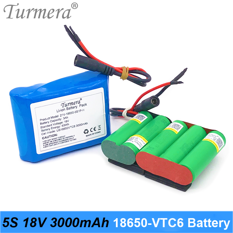 5S 18V 21V 3000mAh Reachargeable Lithium Battery Pack US 18650VTC6 3000mAh 30A Battery Cell with 5S BMS for Screwdriver 18V 21V image