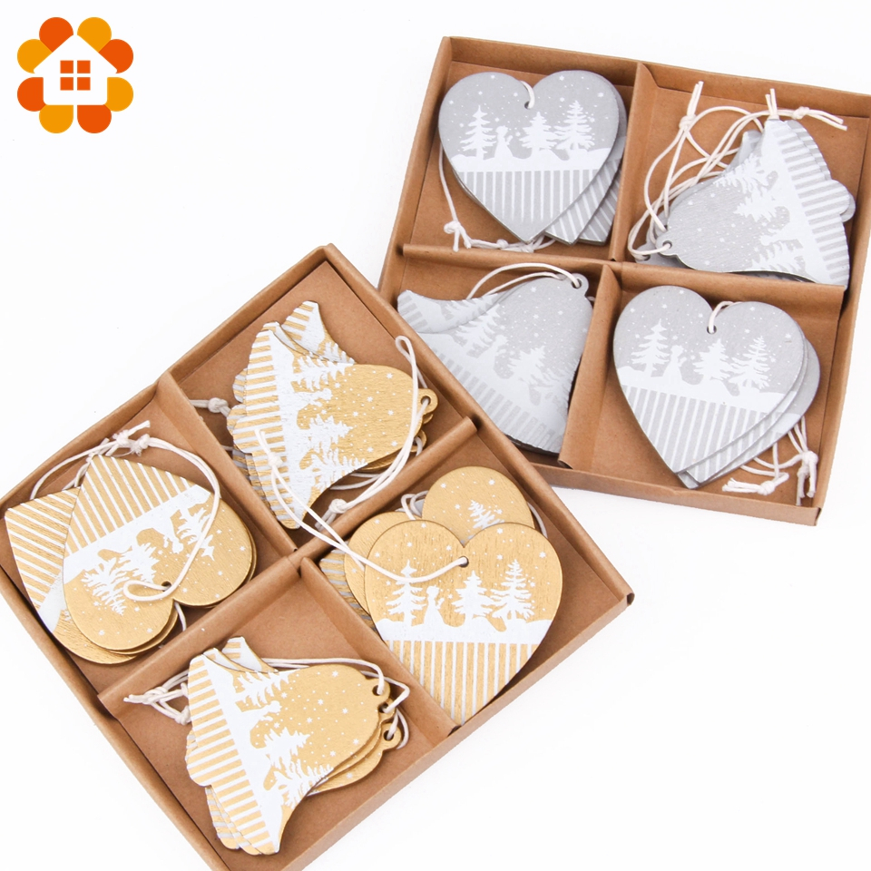 8PCS/lot Gold Silver Wooden Christmas Printed Pendants Decoration Heart Bell Christmas Tree Ornaments Wood Crafts Decor Supplies