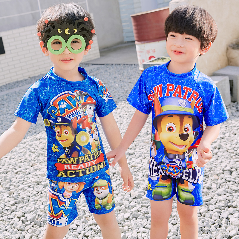 2019 Item Swimwear Korean-style New Style Want Team One-piece Split Type KID'S Swimwear Small CHILDREN'S Cute Puppy Tour Bathing