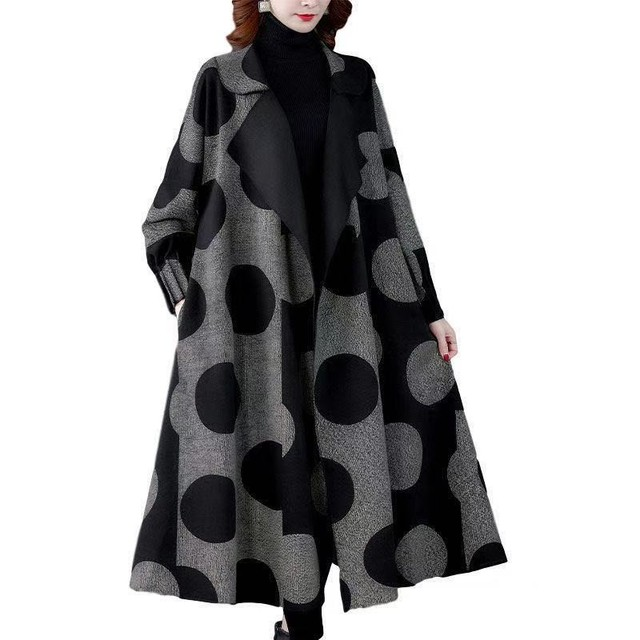 High Quality Fashion  Autumn Winter Women's  Woolen Long Coats Loose Middle Aged Mother Oversized Plaid Cape Drop-shoulder Wool 5