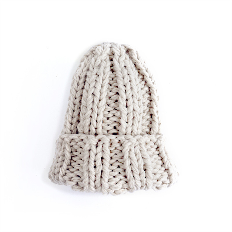 Women Winter Knitted Beanies Hat Thick Soft Warm Coarse Large Knitted Solid Hat Female Ice Ski Bonnet Skullies Beanies Hat Cap 218