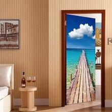 Seaside wooden pier door renovation self-adhesive decorative waterproof  sticker