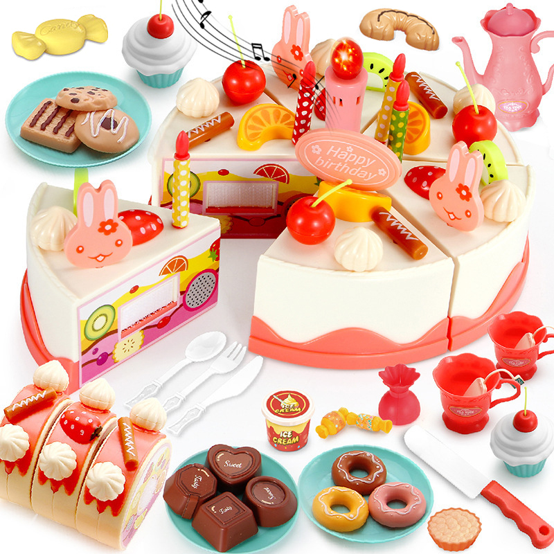 DIY 37-83PCS Birthday Cake Toy Kitchen Set Food Boys Girls Pretend Play Fruit Cutting Toys For Baby Kid Playset Educational Gift
