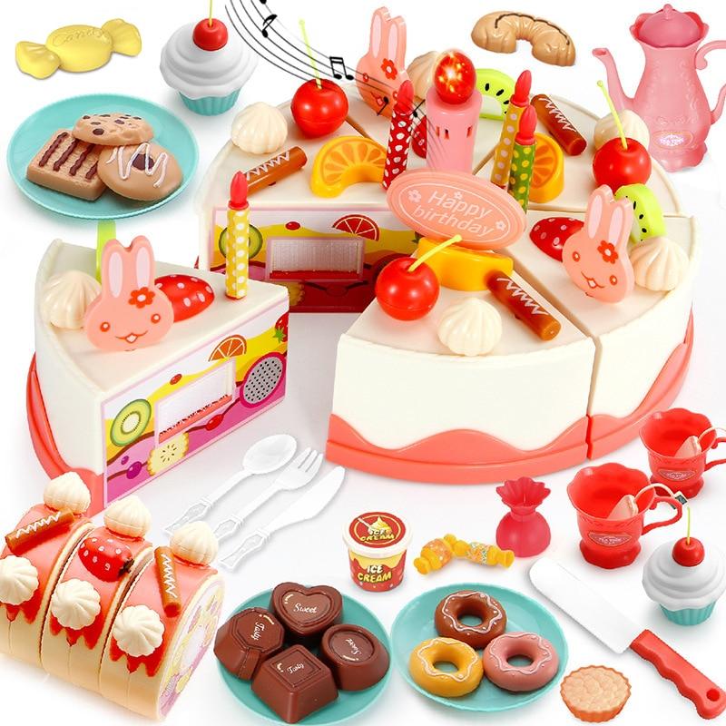 DIY 37-83PCS Birthday Cake Toy Kitchen Set Food Boys Girls Pretend Play Fruit Cutting Toys For Baby Kid Playset Educational Gift