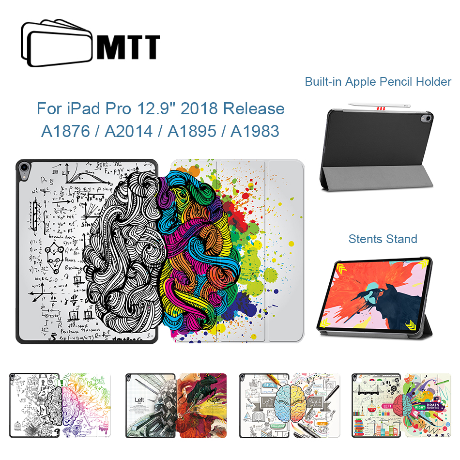 MTT Case For IPad Pro 12.9 Inch 2018 3rd Gen PU Leather Stand Case Cartoon Graffiti Magnetic Smart Cover Wirelessly Charging