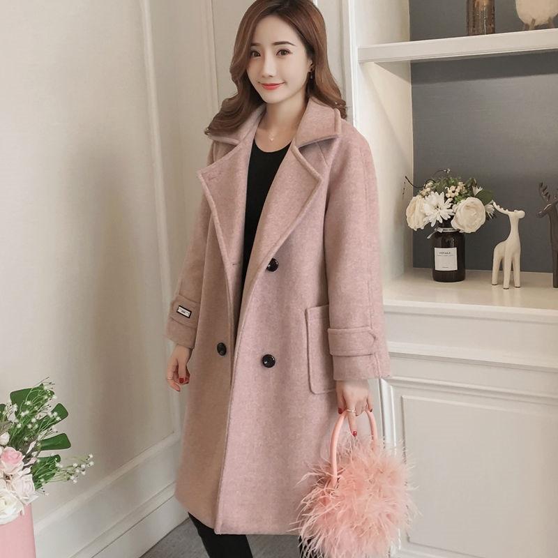 [thickened Cotton Clip] Woolen Coat Women's Middle Long Korean Edition 2018 New Autumn Winter Student Woolen Coat Season