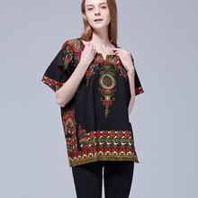 Cadera hopa Boho Tops Unisex negro Vintage Tribal africano DASHIKI con estampado superior Camisa de algodón Tribal