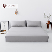 Liv Esthete Noble Gray 100% Silk Fitted Sheet Silky Mattress Cover Queen King Bed Sheets Pillowcase For Women Men Free Shipping