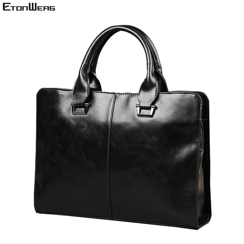 Men's Business Office Briefcase Computer Laptop Handbag Male Top PU Leather Tote Man Large Solid Shoulder Bags Black Vintage Bag