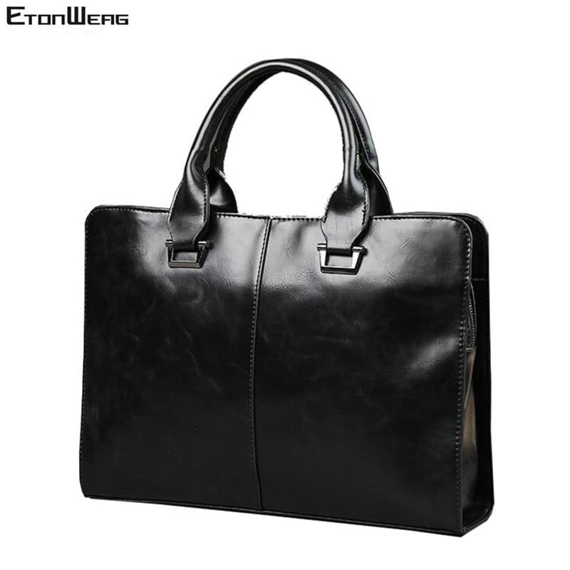 Men's Business Office Briefcase Computer Laptop Handbag Male Top PU Leather Tote Man Large Solid Shoulder Bags Black Vintage Bag
