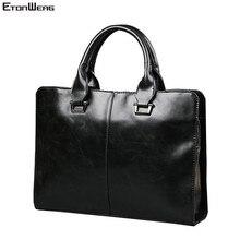 Mens Business office Briefcase Computer Laptop Handbag male Top PU Leather Tote man Large Solid Shoulder bags Black Vintage bag
