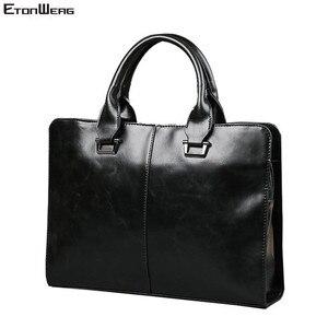 Image 1 - Mens Business office Briefcase Computer Laptop Handbag male Top PU Leather Tote man Large Solid Shoulder bags Black Vintage bag