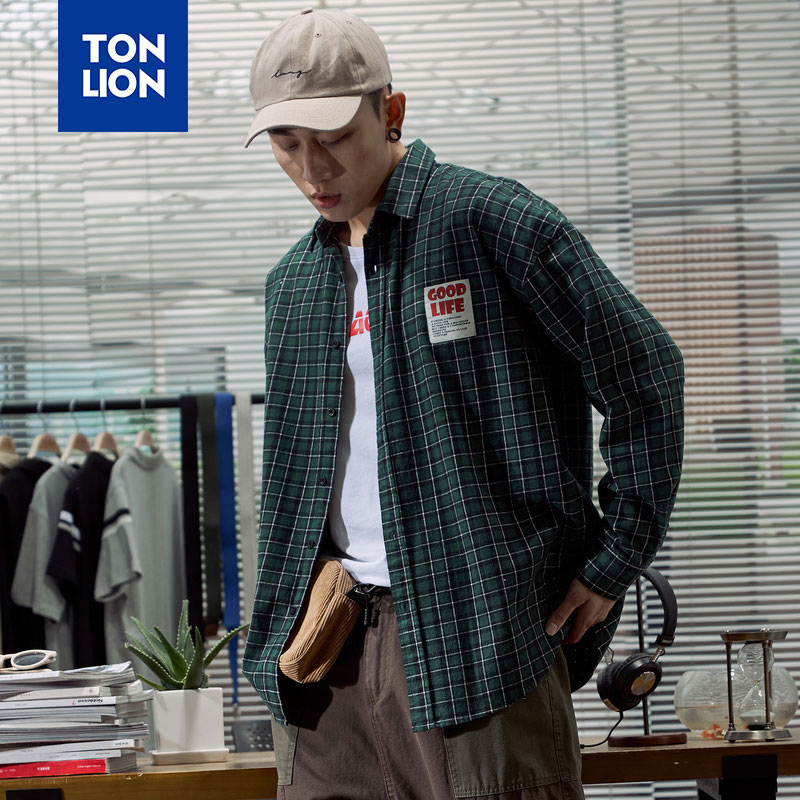 TONLION Vintage Men's Clothing White Green Two Colors Shirt Plaid Boys Long Sleeve Casual Tops Men Open Stitch 2020 Spring New