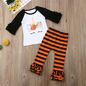 Christmas 2019 New Toddler Kids Baby Girl Autumn Fall Unicorn Outfits Clothes T-shirt Tops Dress+Striped Pants 2PCS Set 1-6Y New image