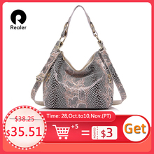 Realer女性のハンドバッグ本革トートバッグ女性の古典的な蛇行プリントショルダーバッグクロスボディバッグレディース学校メッセンジャーバッグbag ladiesmessenger bagcrossbody bag