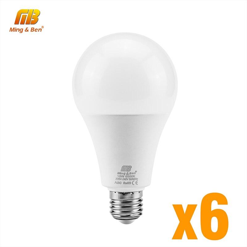 6 pcs/lot LED ampoule E27 9W 12W 15W 18W AC220V Lampada jour blanc froid blanc chaud blanc haute luminosité lampe pour chambre salon