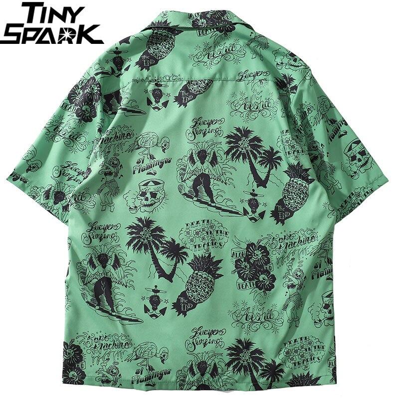 2019 Hip Hop Shirt Streetwear Men Hawaiian Shirts Graffiti Skull Tree Harajuku Summer Beach Shirt Green Tops Short Sleeve Casual 2