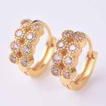 KOFSAC Shiny 925 Silver Hoop Earrings For Women Party Accessories Charm Zircon Round Rose Gold Female Fashion Jewelry