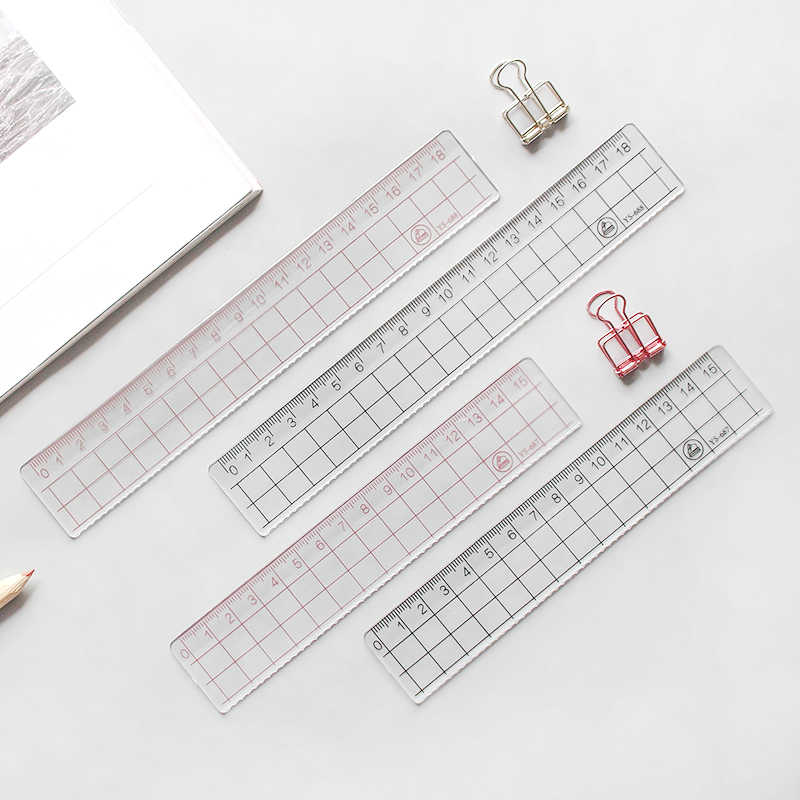 JIANWU 2pcs MUJI STYLE  15cm 18cm 20cm Transparent Simple ruler acrylic ruler   Learn stationery drawing supplies